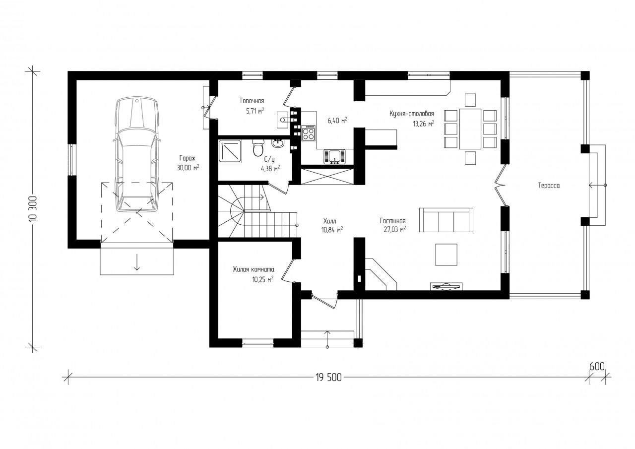 Дом с балконом и гаражом