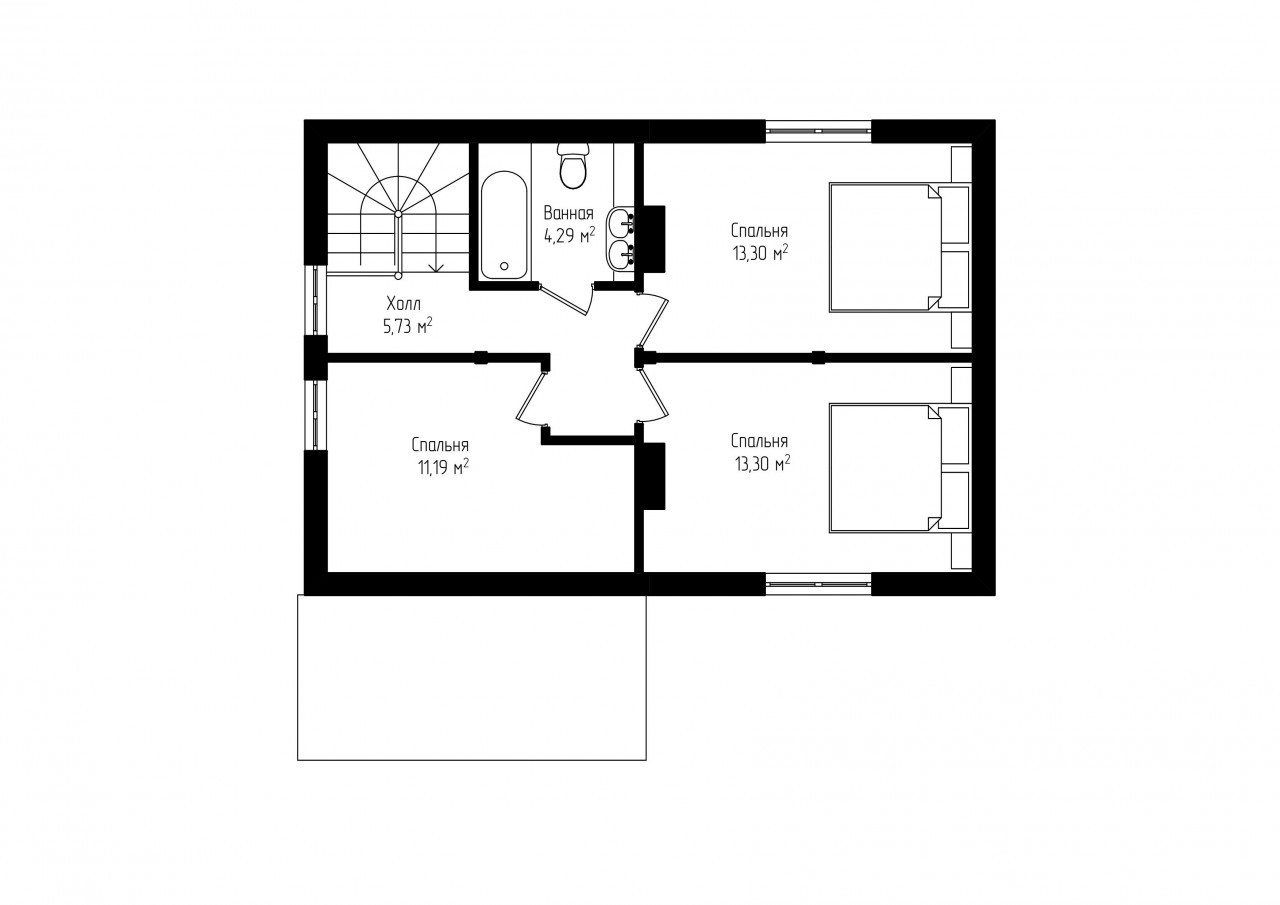 Двухэтажный дом с крыльцом