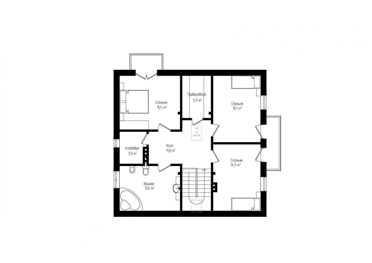Двухэтажный дом с гаражом и террасой