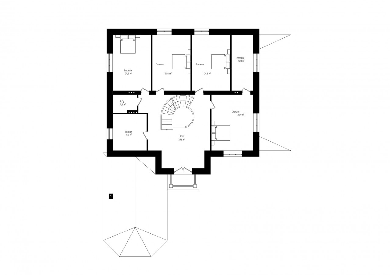 Двухэтажный дом с мансардой