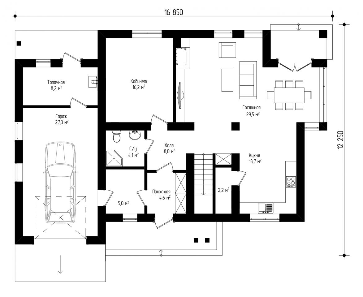 Двухэтажный дом с гаражом и балконом