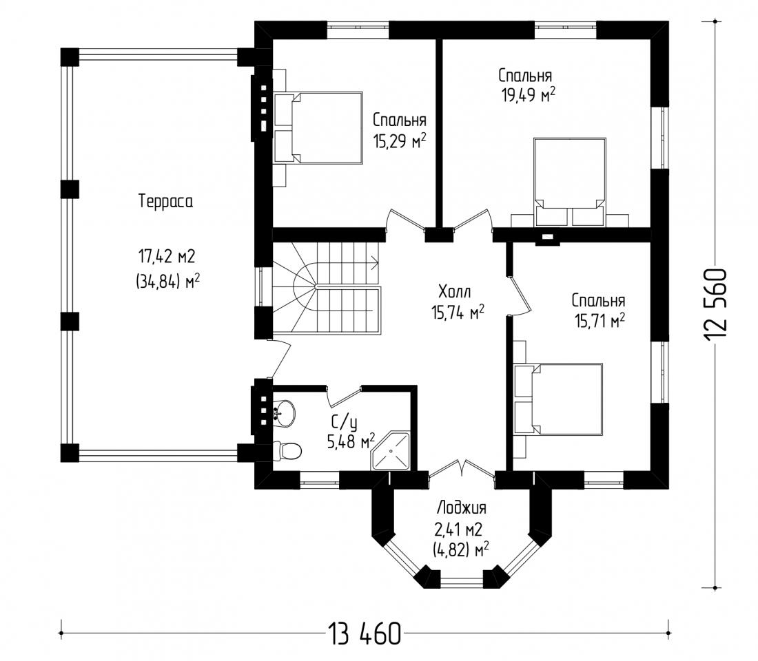 Двухэтажный дом с балконом и гаражом