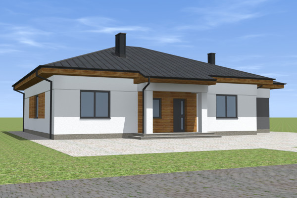 Одноэтажный дом с вальмовой крышей