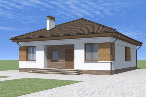 Одноэтажный дом с металлочерепичной крышей