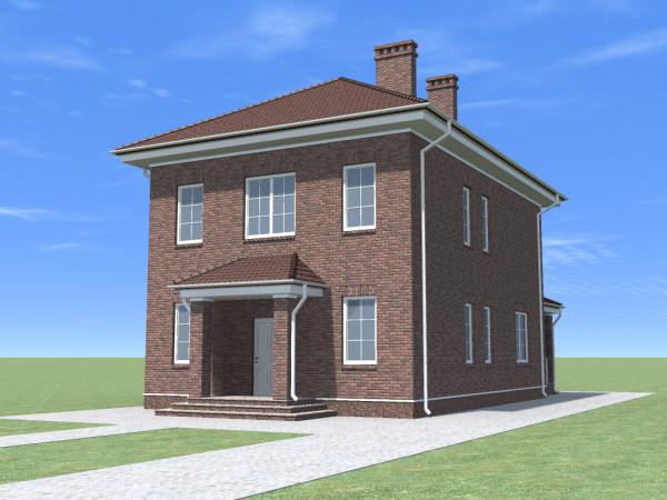 Двухэтажный дом с вальмовой крышей