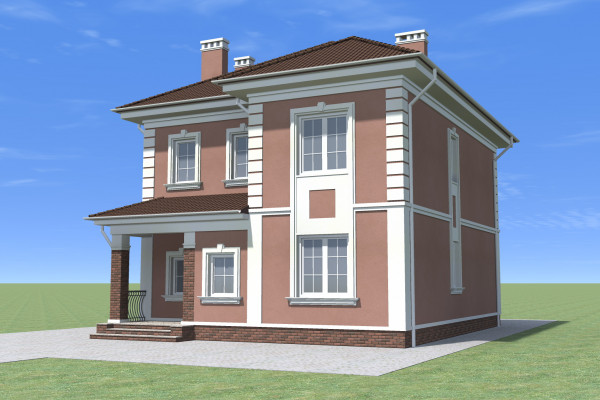 Двухэтажный дом с черепичной крышей