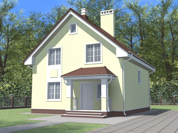 Двухэтажный дом со скатной крышей