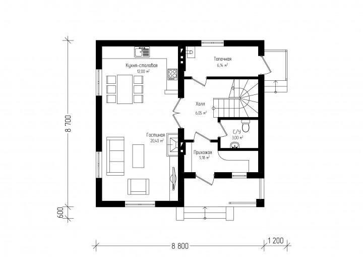 Двухэтажный дом с металлочерепичной крышей