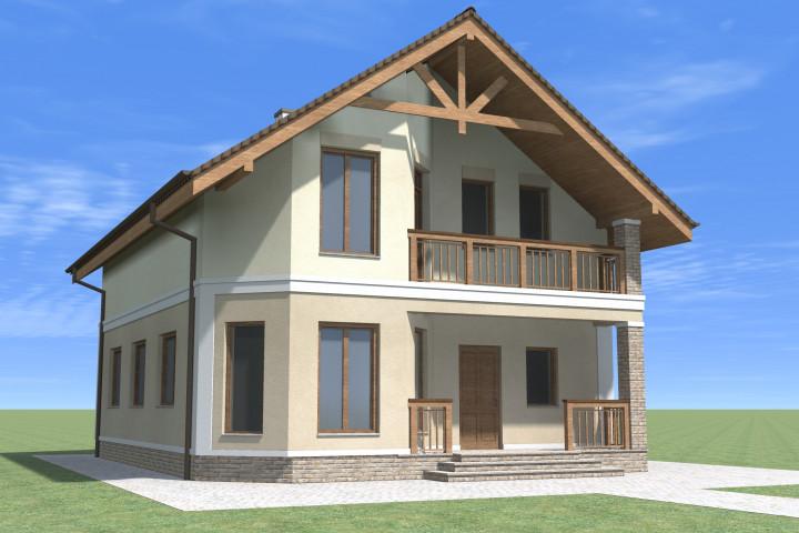 Двухэтажный дом с балконов