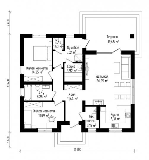 Одноэтажный дом с террасой (94 кв. м)
