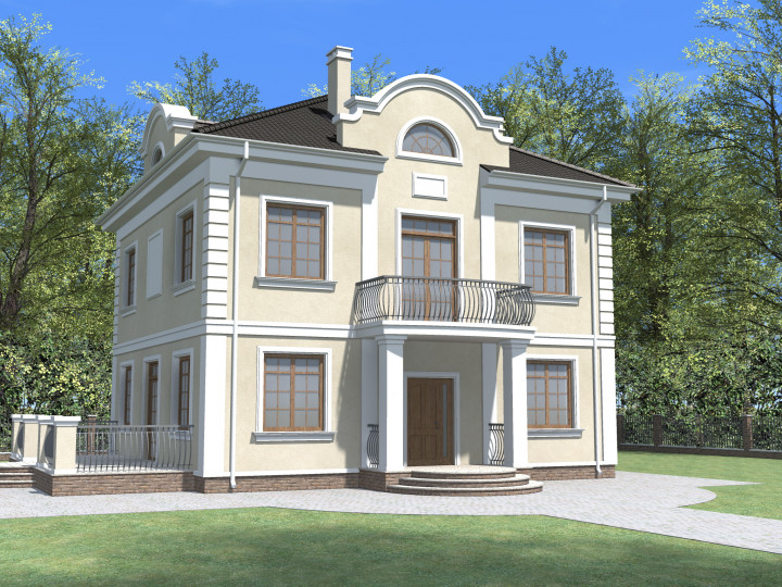 Двухэтажный дом с балконом